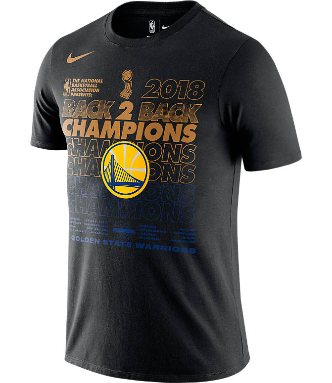 Front view of Men's Nike Golden State Warriors 2018 NBA Champs Locker Room T-Shirt in Black