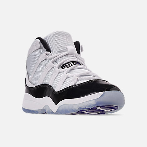 Three Quarter view of Little Kids' Air Jordan Retro 11 Low Basketball Shoes