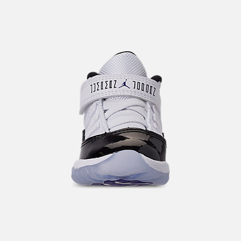 Front view of Kids' Toddler Jordan Retro 11 Basketball Shoes in White/Black/Dark Concord