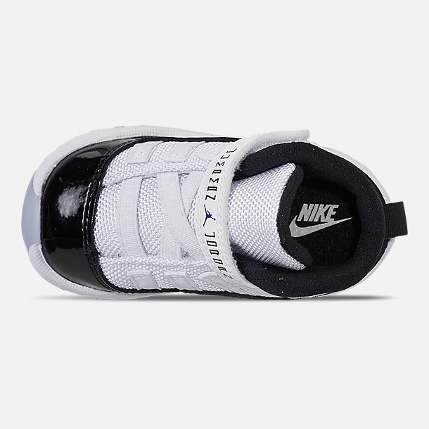 Top view of Kids' Toddler Jordan Retro 11 Basketball Shoes in White/Black/Dark Concord