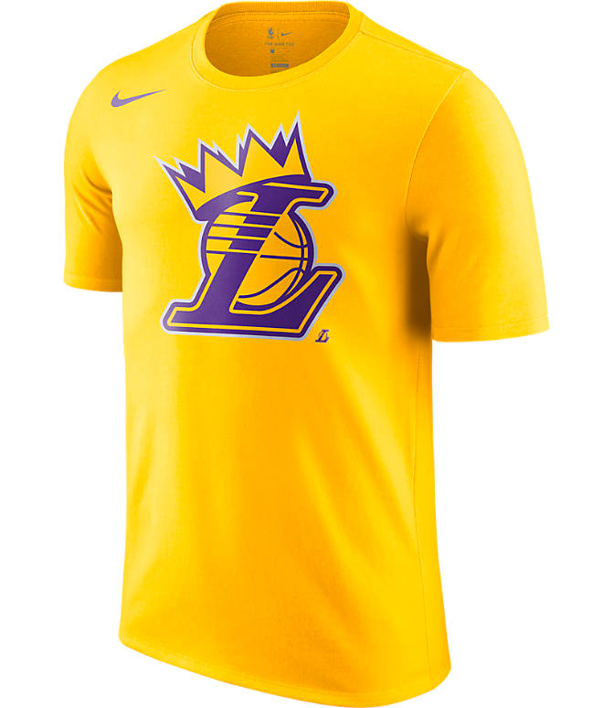 Front view of Men's Nike Los Angeles Lakers NBA Crown T-Shirt in Gold
