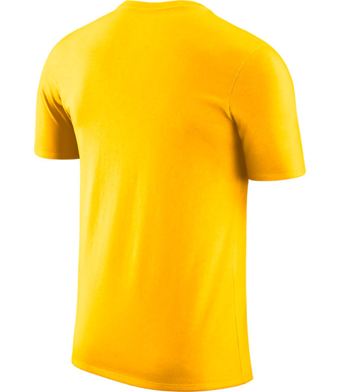 Back view of Men's Nike Los Angeles Lakers NBA Crown T-Shirt in Gold