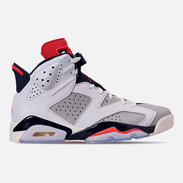 Right view of Men's Air Jordan Retro 6 Basketball Shoes in White/Infrared 23/Neutral Grey