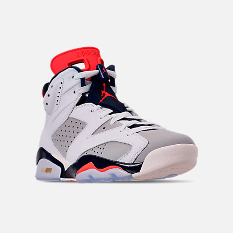 Three Quarter view of Men's Air Jordan Retro 6 Basketball Shoes in White/Infrared 23/Neutral Grey