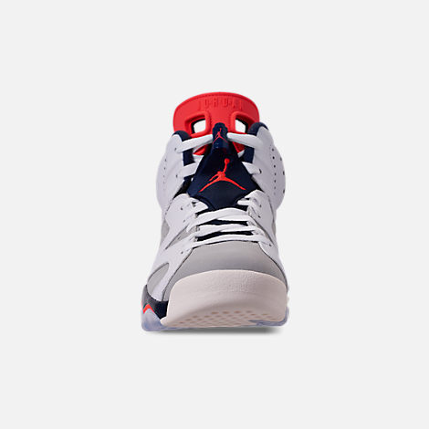 Front view of Men's Air Jordan Retro 6 Basketball Shoes in White/Infrared 23/Neutral Grey