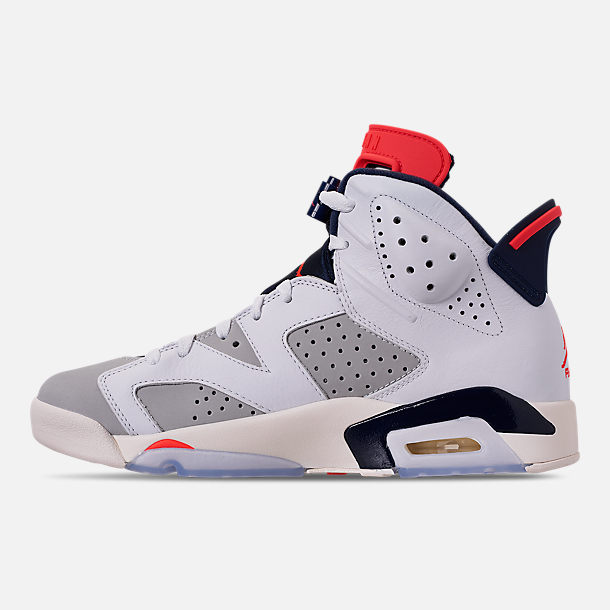 Left view of Men's Air Jordan Retro 6 Basketball Shoes in White/Infrared 23/Neutral Grey