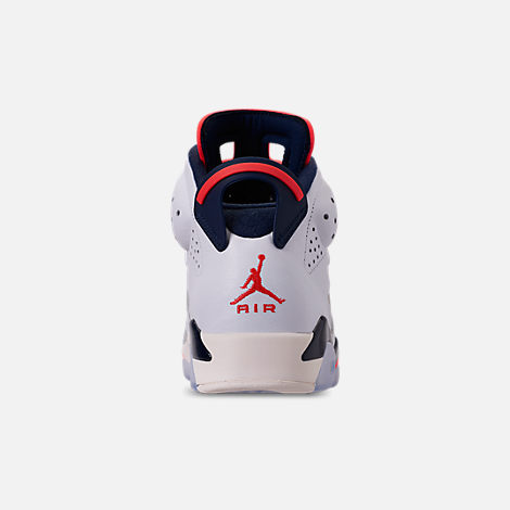 Back view of Men's Air Jordan Retro 6 Basketball Shoes in White/Infrared 23/Neutral Grey