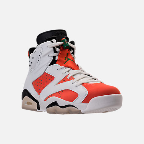 Three Quarter view of Men's Air Jordan Retro 6 Basketball Shoes in Summit White/Team Orange/Black