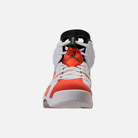 Front view of Men's Air Jordan Retro 6 Basketball Shoes in Summit White/Team Orange/Black
