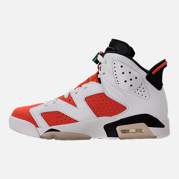 Left view of Men's Air Jordan Retro 6 Basketball Shoes in Summit White/Team Orange/Black
