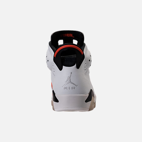 Back view of Men's Air Jordan Retro 6 Basketball Shoes in Summit White/Team Orange/Black