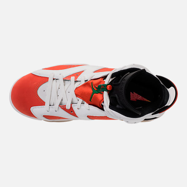 Top view of Men's Air Jordan Retro 6 Basketball Shoes in Summit White/Team Orange/Black
