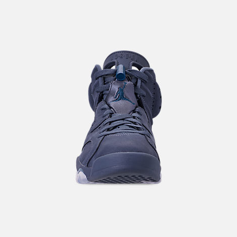 Front view of Men's Air Jordan Retro 6 Basketball Shoes in Diffused Blue/Court Blue