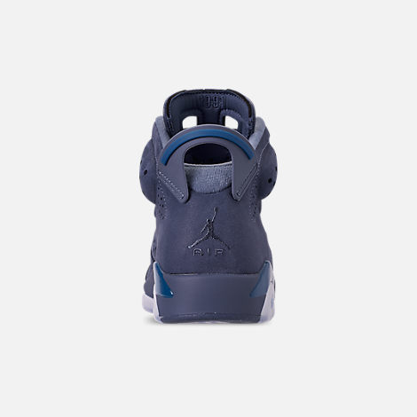 Back view of Men's Air Jordan Retro 6 Basketball Shoes in Diffused Blue/Court Blue