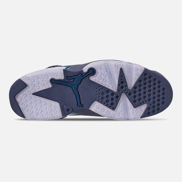 Bottom view of Men's Air Jordan Retro 6 Basketball Shoes in Diffused Blue/Court Blue
