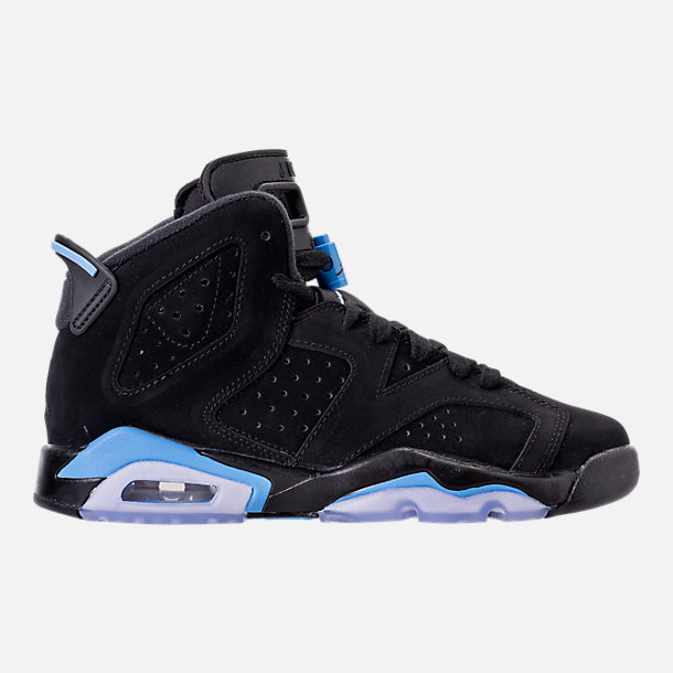 Right view of Kids' Grade School Air Jordan Retro 6 Basketball Shoes in Black/University Blue