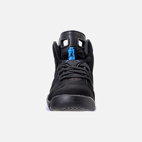 Front view of Kids' Grade School Air Jordan Retro 6 Basketball Shoes in Black/University Blue
