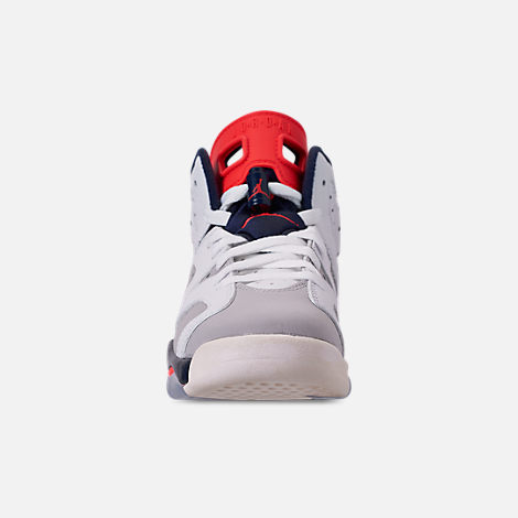 Front view of Big Kids' Air Jordan Retro 6 Basketball Shoes in White/Infrared 23/Neutral Grey/Obsidian