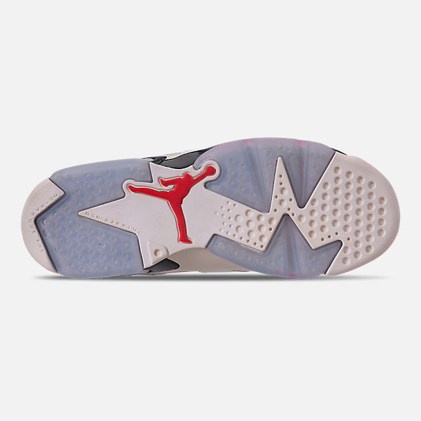 Bottom view of Big Kids' Air Jordan Retro 6 Basketball Shoes in White/Infrared 23/Neutral Grey/Obsidian