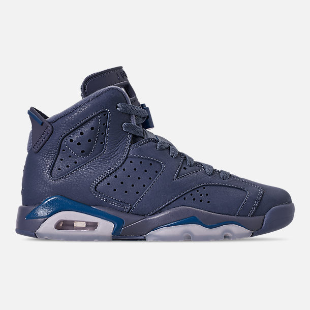 outlet store b5957 8f63e Right view of Big Kids  Air Jordan Retro 6 Basketball Shoes in Diffused  Blue