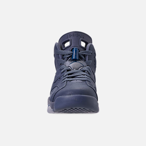 Front view of Big Kids' Air Jordan Retro 6 Basketball Shoes in Diffused Blue/Court Blue