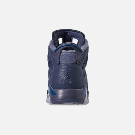 Back view of Big Kids' Air Jordan Retro 6 Basketball Shoes in Diffused Blue/Court Blue