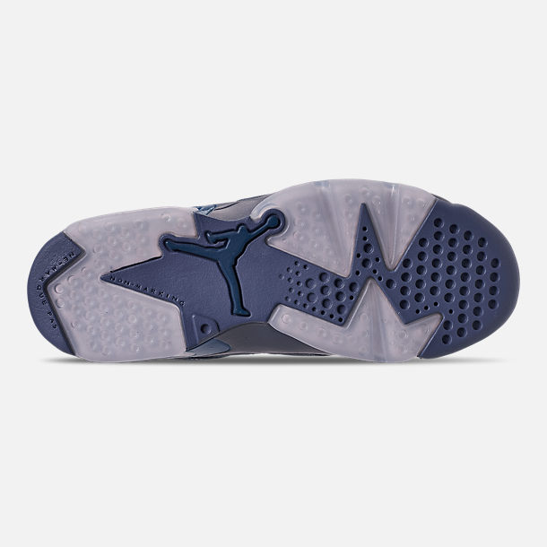Bottom view of Big Kids' Air Jordan Retro 6 Basketball Shoes in Diffused Blue/Court Blue
