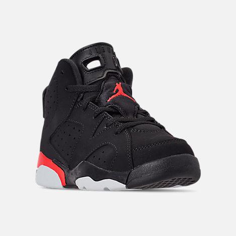 dd55499f5750 Three Quarter view of Little Kids  Air Jordan Retro 6 Basketball Shoes in  Black