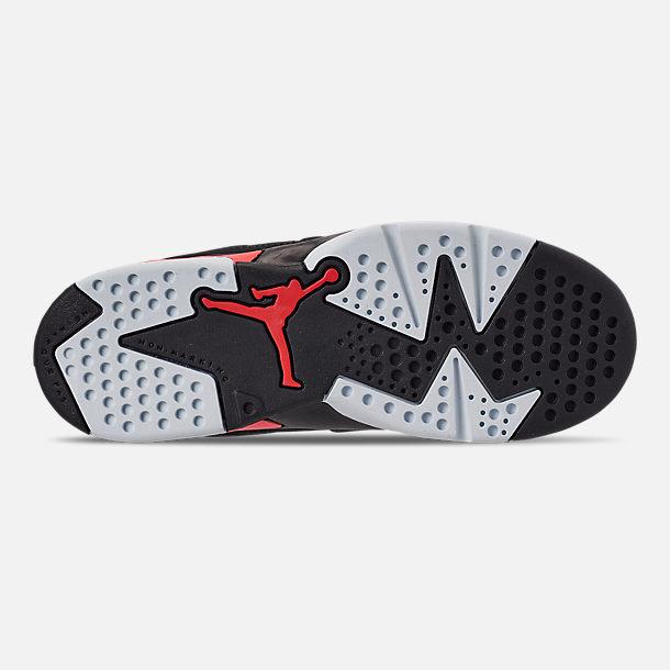 25f442c8d6b1 Bottom view of Little Kids  Air Jordan Retro 6 Basketball Shoes in  Black Crimson