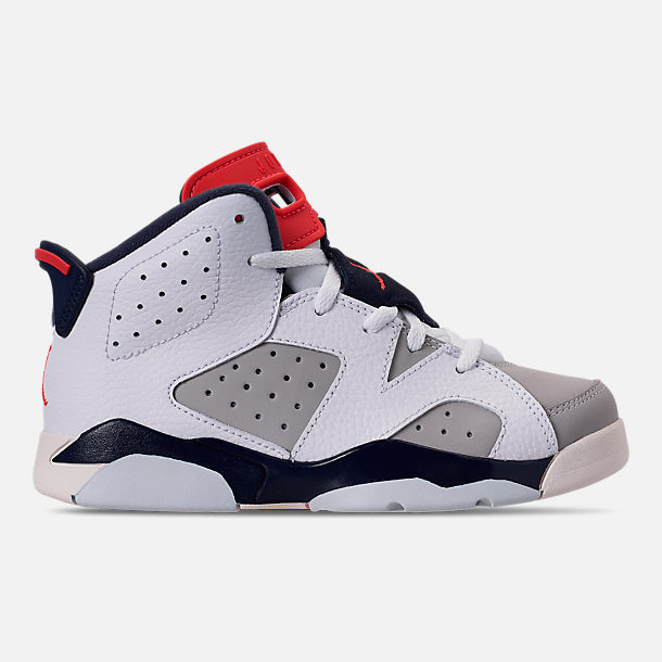 Right view of Little Kids' Air Jordan Retro 6 Basketball Shoes in White/Infrared 23/Neutral Grey/Obsidian