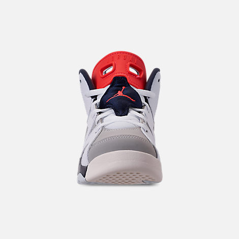 Front view of Little Kids' Air Jordan Retro 6 Basketball Shoes in White/Infrared 23/Neutral Grey/Obsidian