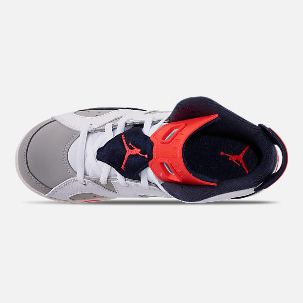 Top view of Little Kids' Air Jordan Retro 6 Basketball Shoes in White/Infrared 23/Neutral Grey/Obsidian