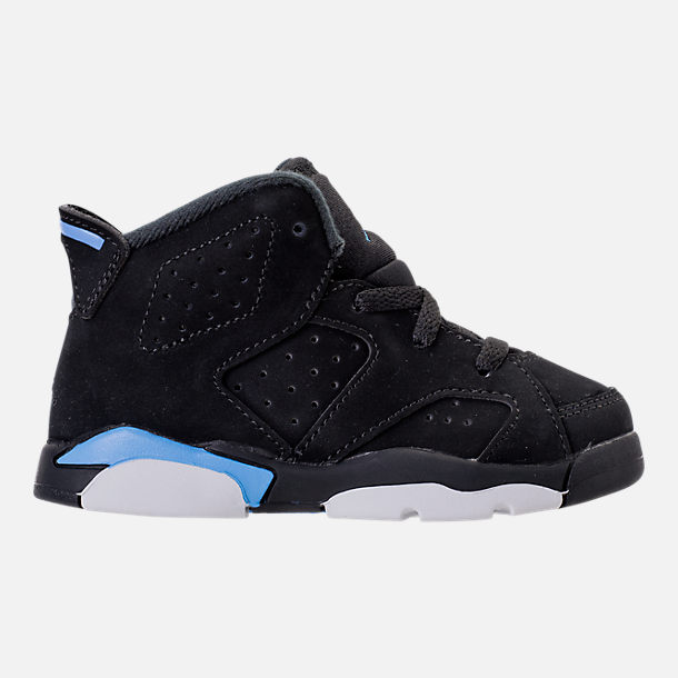Right view of Kids' Toddler Air Jordan Retro 6 Basketball Shoes in Black/University Blue