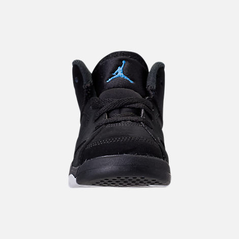 Front view of Kids' Toddler Air Jordan Retro 6 Basketball Shoes in Black/University Blue