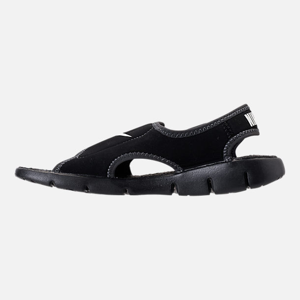 Left view of Boys' Little Kids' Nike Sunray Adjust 4 Sandals in Black/White