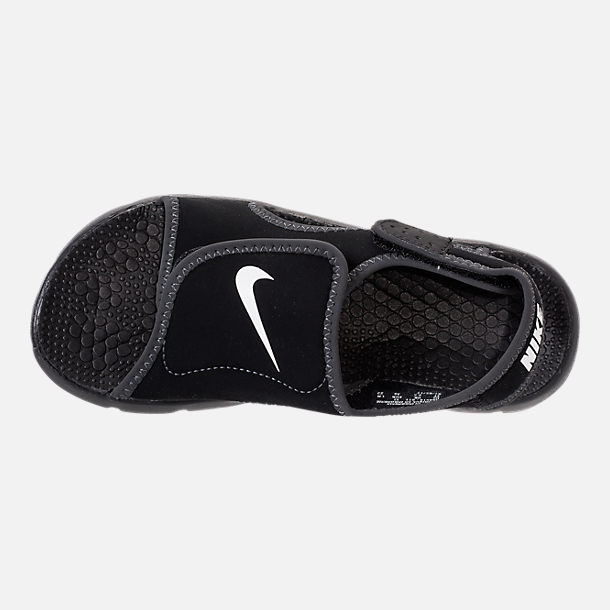 Top view of Boys' Little Kids' Nike Sunray Adjust 4 Sandals in Black/White