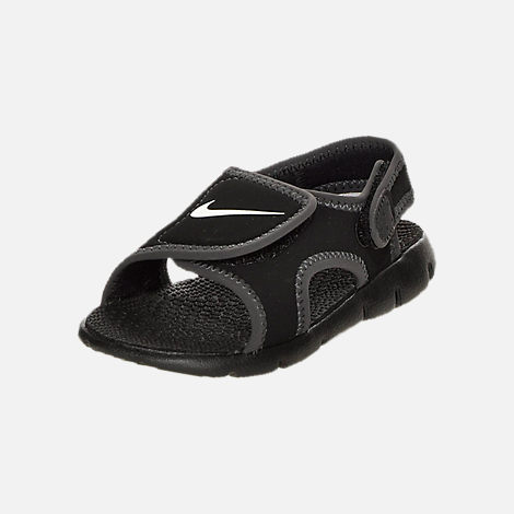Three Quarter view of Boys' Toddler Nike Sunray Adjust 4 Sandals in Black/White/Anthracite