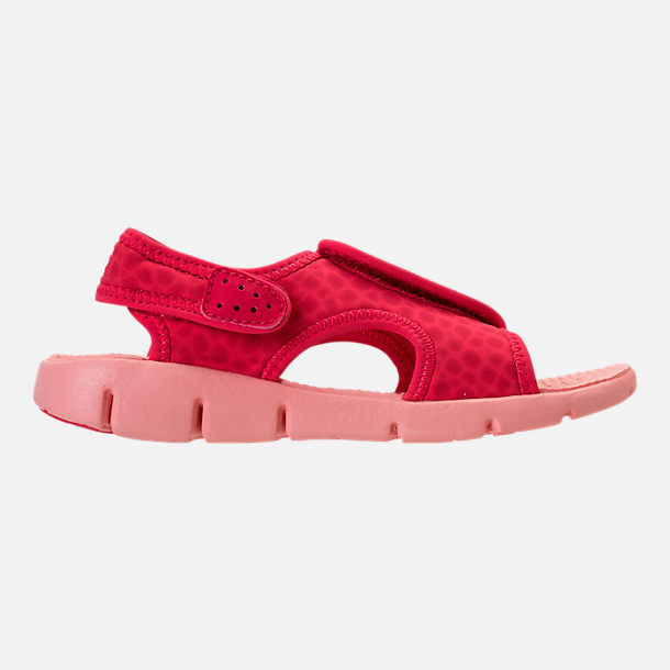 Right view of Girls' Preschool Nike Sunray Adjust 4 Sandals in Tropical Pink/Bleached Coral