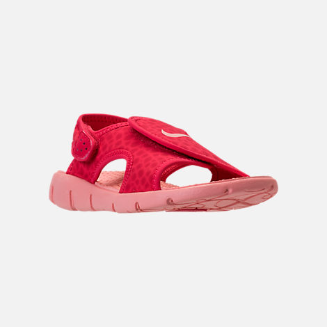 Three Quarter view of Girls' Preschool Nike Sunray Adjust 4 Sandals in Tropical Pink/Bleached Coral