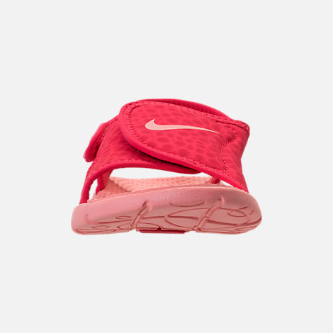 Front view of Girls' Preschool Nike Sunray Adjust 4 Sandals in Tropical Pink/Bleached Coral