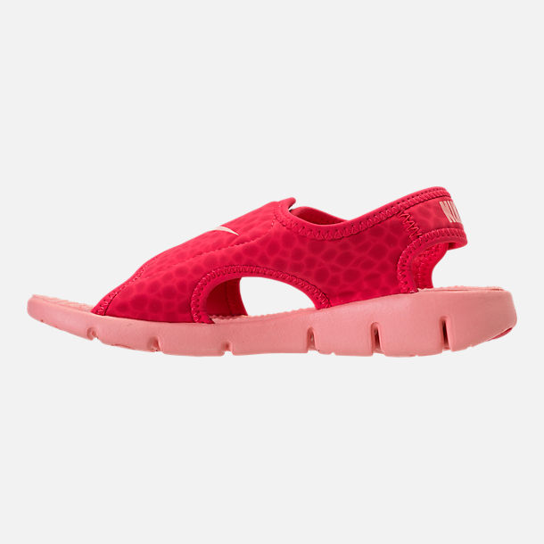 Left view of Girls' Preschool Nike Sunray Adjust 4 Sandals in Tropical Pink/Bleached Coral