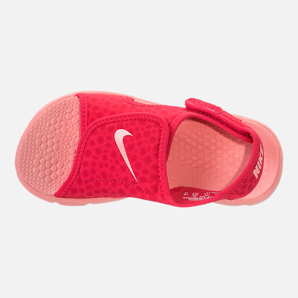 Top view of Girls' Preschool Nike Sunray Adjust 4 Sandals in Tropical Pink/Bleached Coral