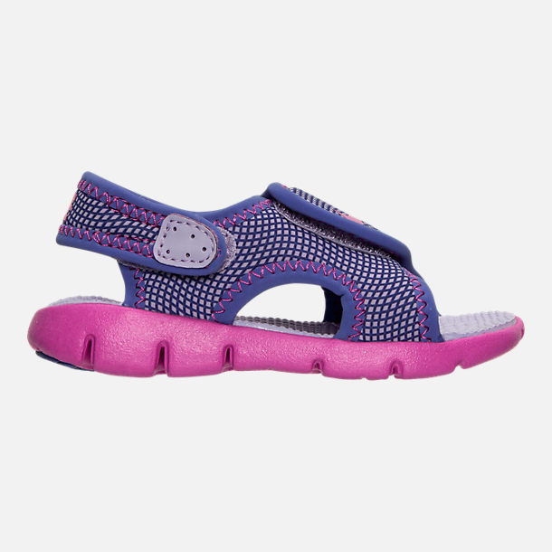 Right view of Girls' Toddler Nike Sunray Adjust 4 Sandals in Hydrangeas/Fire Pink/Comet Blue
