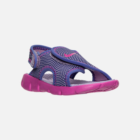 Three Quarter view of Girls' Toddler Nike Sunray Adjust 4 Sandals in Hydrangeas/Fire Pink/Comet Blue