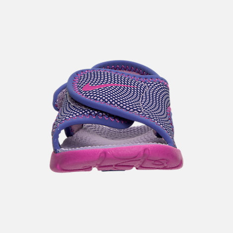 Front view of Girls' Toddler Nike Sunray Adjust 4 Sandals in Hydrangeas/Fire Pink/Comet Blue