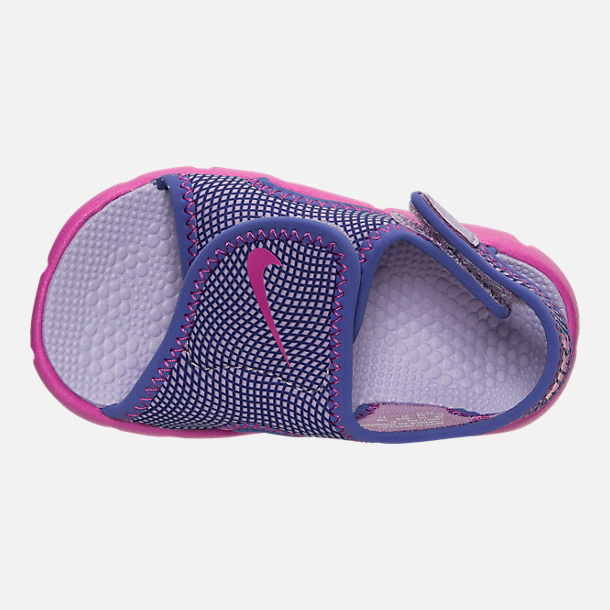 Top view of Girls' Toddler Nike Sunray Adjust 4 Sandals in Hydrangeas/Fire Pink/Comet Blue