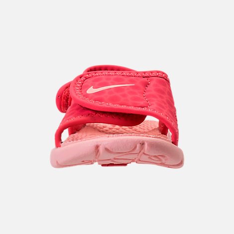 Front view of Girls' Toddler Nike Sunray Adjust 4 Sandals in Tropical Pink/Bleached Coral