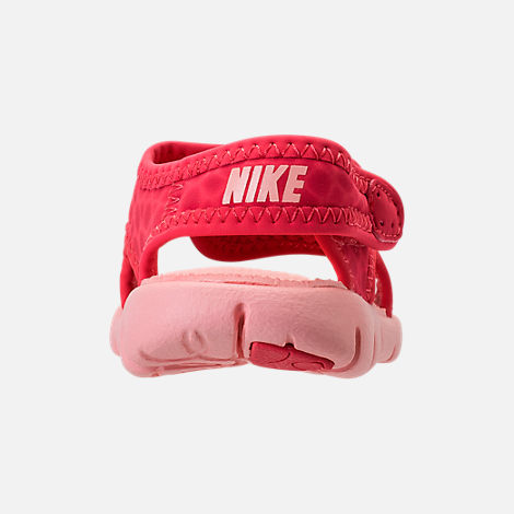 Back view of Girls' Toddler Nike Sunray Adjust 4 Sandals in Tropical Pink/Bleached Coral