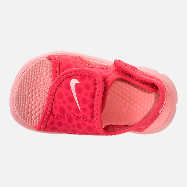Top view of Girls' Toddler Nike Sunray Adjust 4 Sandals in Tropical Pink/Bleached Coral