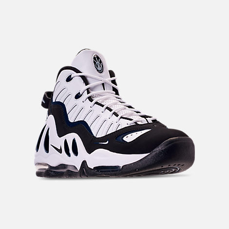 Three Quarter view of Men's Nike Air Max Uptempo '97 Basketball Shoes in White/Black/Navy